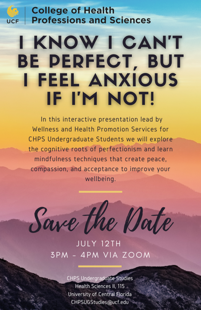 CHPS to Host Interactive Presentation for Undergraduate Students Addressing Anxiety and Perfectionism