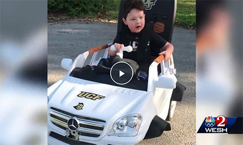 Longwood boy with rare disorder gets new ride for 4th birthday thanks to UCF program