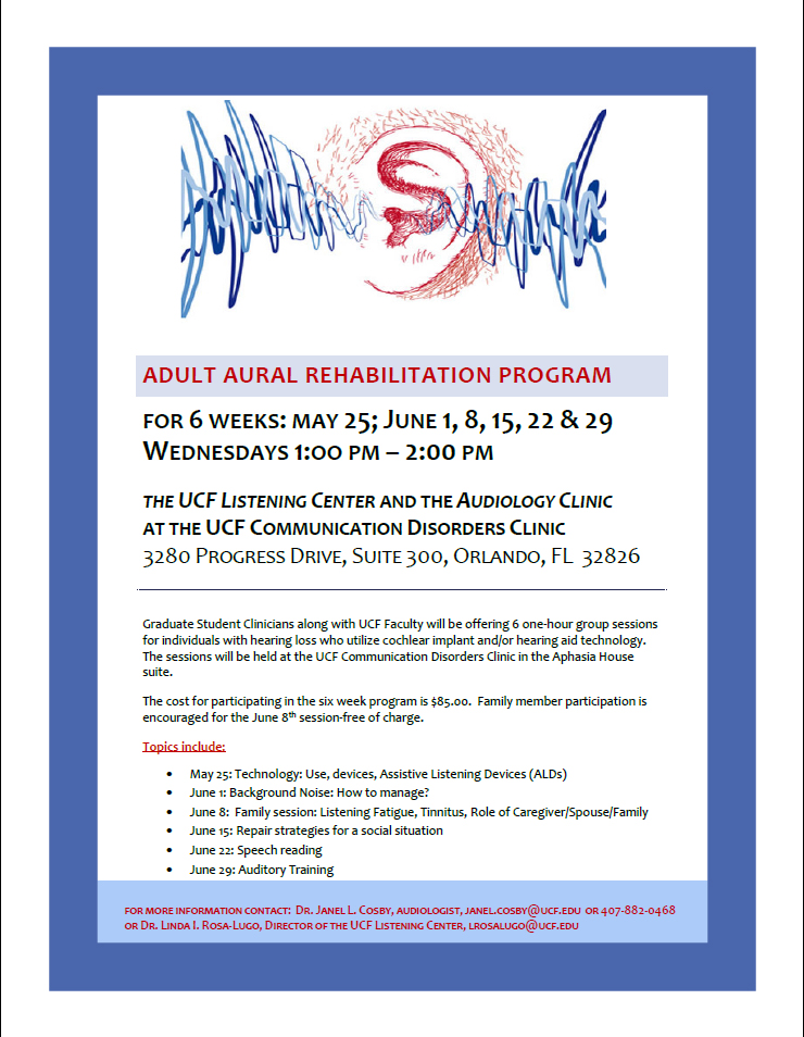 Clinic to Offer Adult Aural Rehabilitation Program in May-June 2016