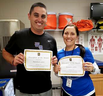 Jennifer and Matthew Laws are November's Athletic Training Preceptors of the Month