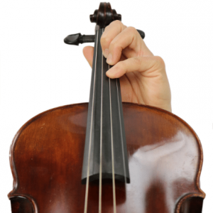 Close up of hand placement on violin