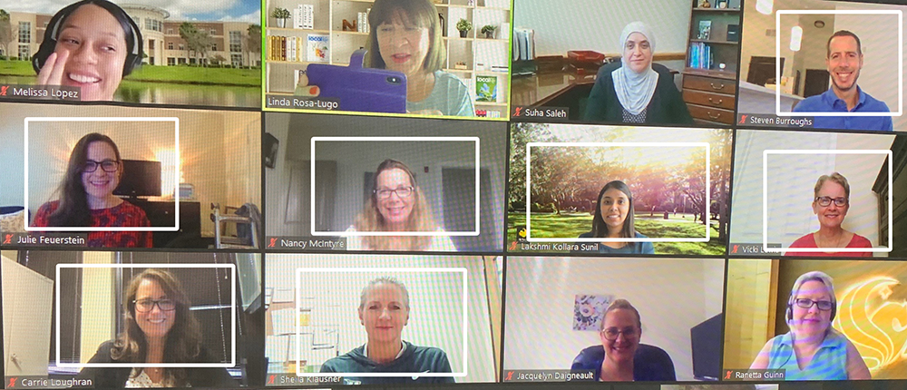 screen shot of zoom meeting with faculty and staff